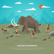 Mammoth Hunting Illustration Stock Illustration
