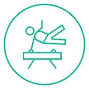 Gymnast exercising on pommel horse line icon - stock illustration