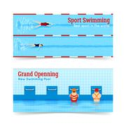 Sport Swimming Grand Openning Banners Set Stock Illustration