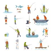 Fishing People Fish And Tools Icons Set Piirros