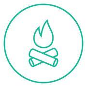 Campfire line icon - stock illustration