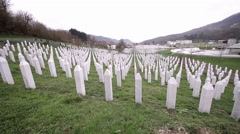 The memorial center in Potocari, Srebrenica, Bosnia and Herzegovina Stock Footage