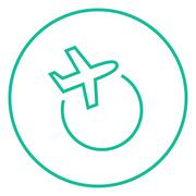 Travel by plane line icon - stock illustration