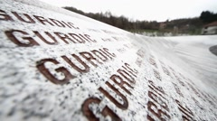 Srebrenica-Potocari memorial center-The names of the murdered men and boys Stock Footage