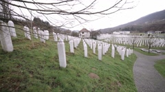 Srebrenica-Potocari memorial center-the shot moves from left to right Stock Footage