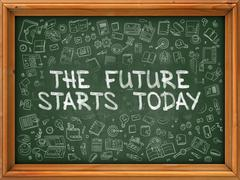 The Future Starts Today - Hand Drawn on Green Chalkboard - stock illustration
