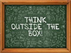 Green Chalkboard with Hand Drawn Think Outside the Box - stock illustration