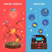 Making Jewelry Banners Set Stock Illustration