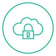 Cloud computing security line icon Stock Illustration