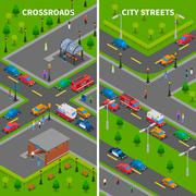Stock Illustration of Street Traffic Isometric Vertical Banners