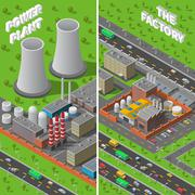 Stock Illustration of Factory Plant Industrial Isometric vertical Banners