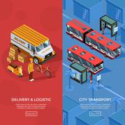Two Vertical Isometric Transport Banners - stock illustration