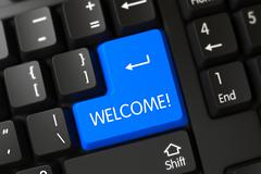 Blue Welcome Button on Keyboard - stock illustration