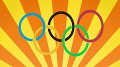 Rio 2016 carnival style olympic rings background loop orange Stock Footage