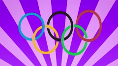 Rio 2016 carnival style olympic rings background loop purple Stock Footage