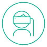 Man wearing virtual reality headset line icon Stock Illustration