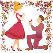 Stock Illustration of Marriage proposal illustration.
