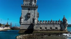 Belem Tower in municipality of Lisbon, Portugal Stock Footage