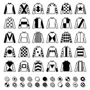 Jockey uniform - jackets, silks and hats, horse riding icons set - stock illustration