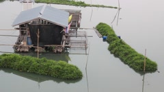 Floating houses in Uthai Thani Stock Footage