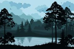 Mountains, Trees and River - stock illustration