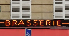 Brasserie Paris neon sign Stock Footage