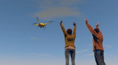 2 figures waving to a UAV drone, 3D animation Stock Footage