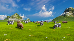 Dairy cows on green alpine meadow 4K - stock footage