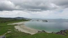 aerial view beautiful sandy beach & sky - stock footage