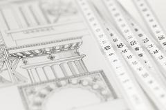 architectural drawing - detail column and folding ruler - stock photo