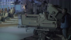 Professional TV camera in the Studio during the recording of the show - stock footage