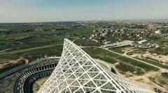 Rome, Vela designed by architect Calatrava under costruction. Aerial video N. Stock Footage