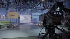 Camera in an empty TV Studio before the show - stock footage