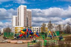 Zelenograd, Russia View of playground in  residential area Stock Photos