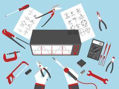 Flat electronic repairs Stock Illustration