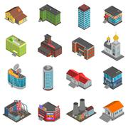 City Buildings Isometric Icons Set - stock illustration