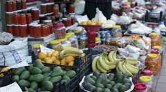 Turkey, Antalya, March 2016 People in the bazaar selling food fruits vegetables - stock footage
