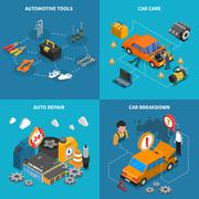Car Service Isometric Conceptual  Icon Set - stock illustration
