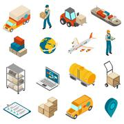 Logistics Transportation Symbols Isometric Icons Collection Stock Illustration