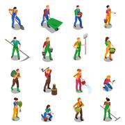 Farmers At Work Isometric Icons Set Piirros