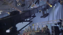 The backstage records TV shows. (camera on crane in Studio) - stock footage