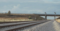 Passenger train travelling from a high angle shoot at Israel Stock Footage