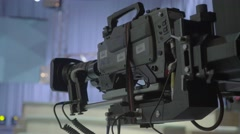 The camera in TV studios before live broadcast Stock Footage
