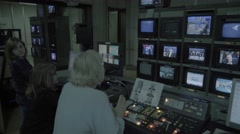 Control room live broadcast in the TV Studio Stock Footage