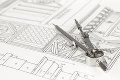 drawings of architectural details - columns element and compass - stock photo