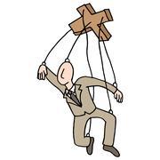 Puppet String Businessman - stock illustration