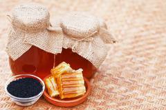 Honey with black cumin Stock Photos