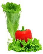 Capsicum with fresh lettuce Stock Photos