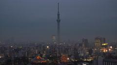 Tokyo Skytree Tower & skyline, Tokyo, Japan Stock Footage