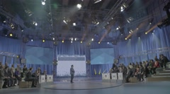 Big TV Studio during the recording of a political talk show - stock footage
